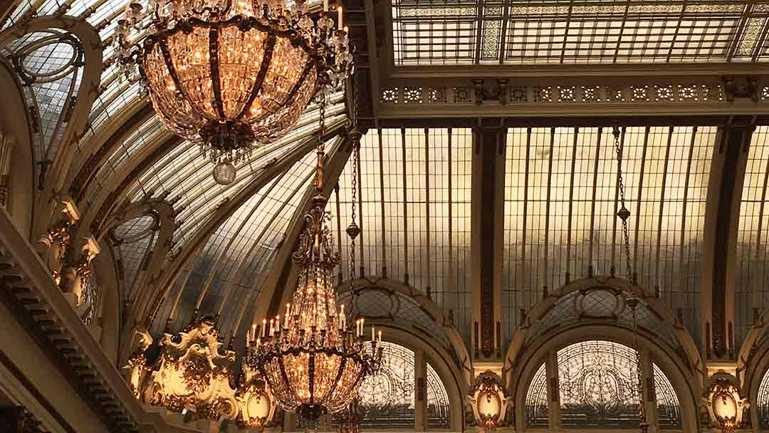 Leaded glass ceiling in the Beaux Arts style